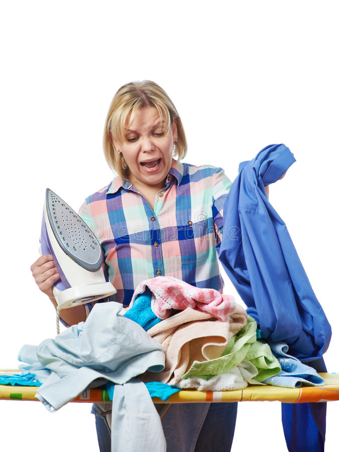 Woman in stress from homework. Isolated stock images