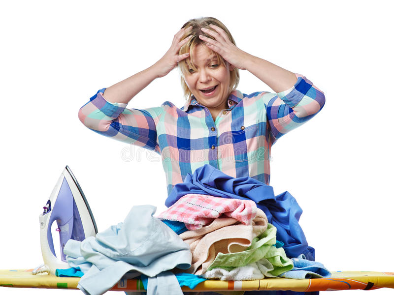 Woman in stress from homework. Isolated stock photo