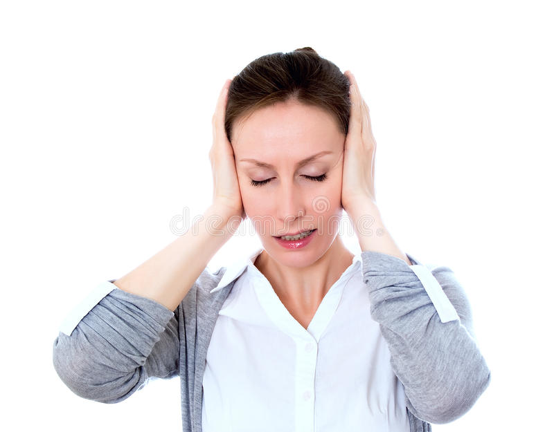 Woman Stress Isolated White Stock Images