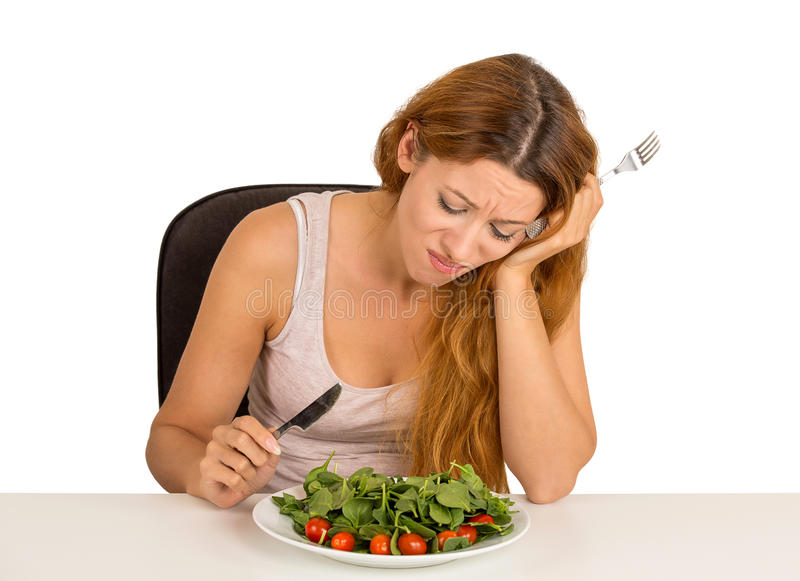 Woman stressed tired of diet restrictions stock images