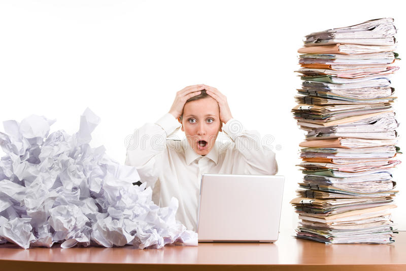 Woman Stressed At Work Stock Photography