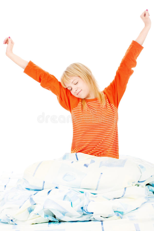 Woman Stretched Arms In Bad Royalty Free Stock Photos