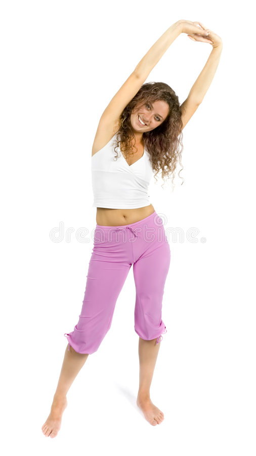 Woman is stretching stock images