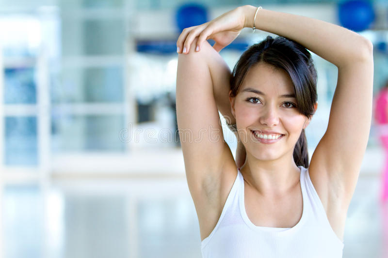 Download Woman stretching stock photo. Image of exercising, cute - 13296902