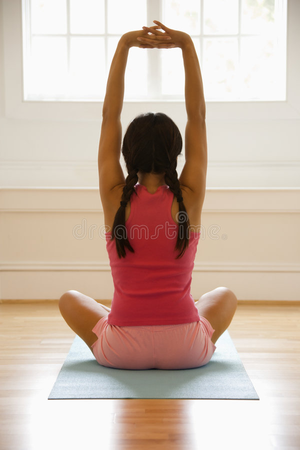 Woman Stretching Arms Stock Photos