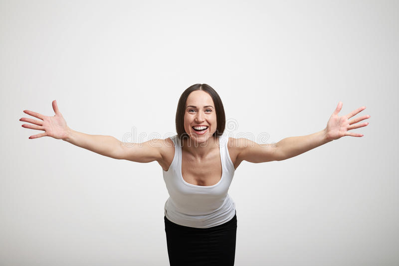 Woman stretching out her hands stock photography