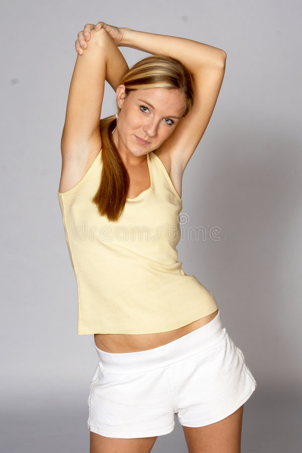 Woman Stretching Tricep stock photography