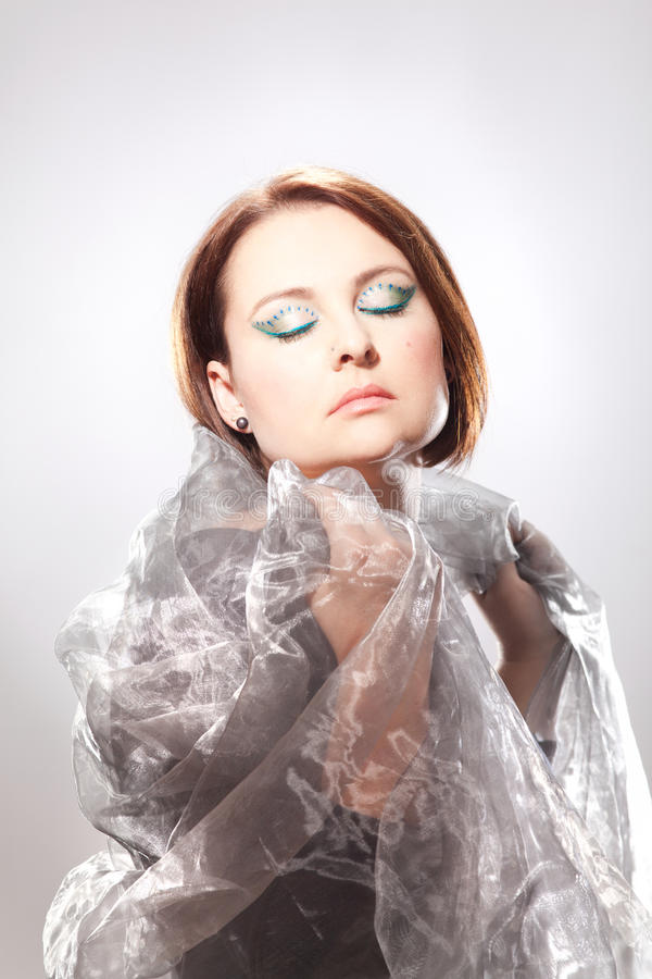 Woman with striking make-up stock images