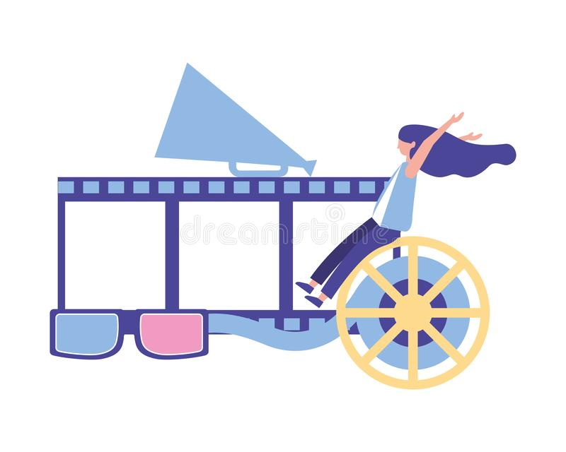 Woman with strip reel 3d glasses production movie film royalty free illustration