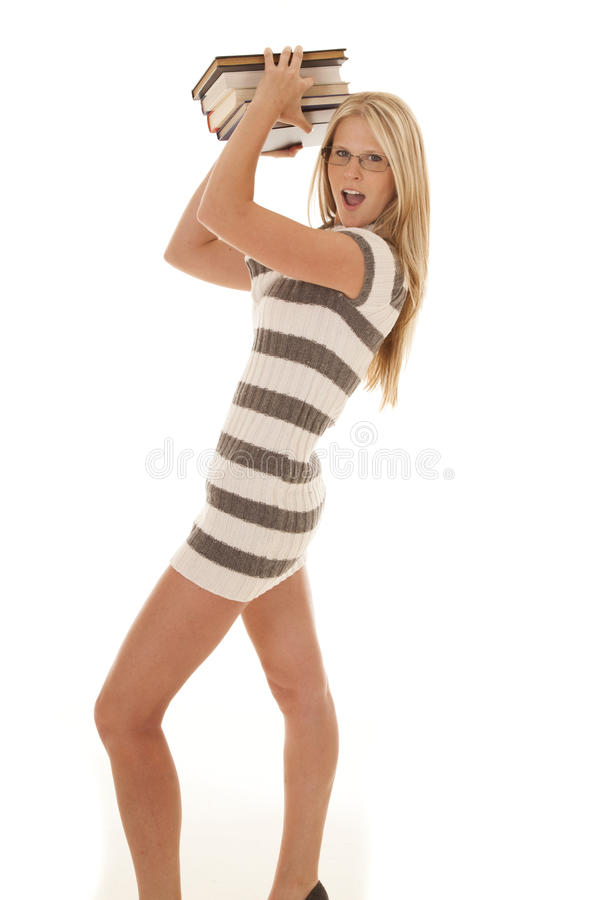 Download Woman Striped Dress Books Up Stock Image - Image: 31281151