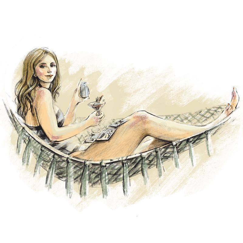 Woman in a striped swimsuit lying in a hammock with instant photos and a cocktail. Plus size model with blond hair on a beach royalty free illustration