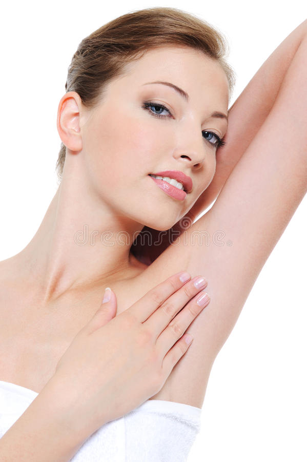 Woman stroking her clean fresh armpit stock images