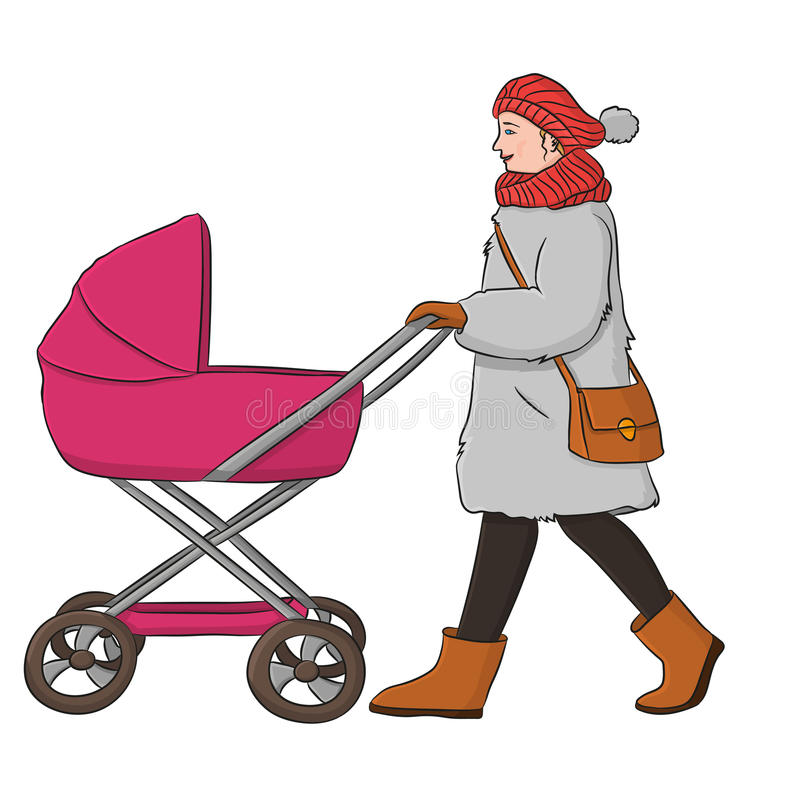 Woman with a stroller. A woman dresses in a fur coat. She carries a stroller stock illustration
