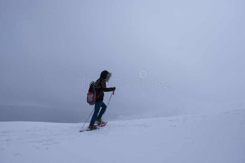 Woman struggling against the difficulties to reach her goals. Navarra royalty free stock images