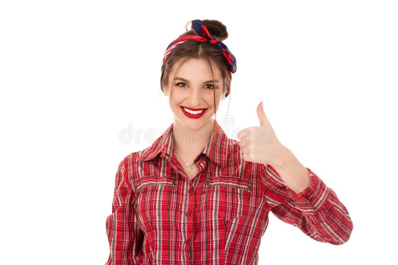 Woman student being excited giving thumb up. Closeup portrait young successful smiling woman student being excited giving thumb up like gesture with hand royalty free stock images