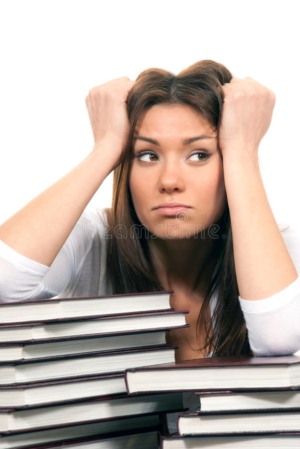 Woman Student Tired Of Reading Books Stock Image