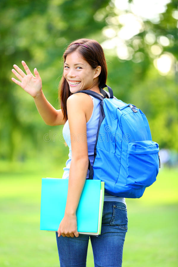 Download Woman Student Waving Stock Photo - Image: 24526290