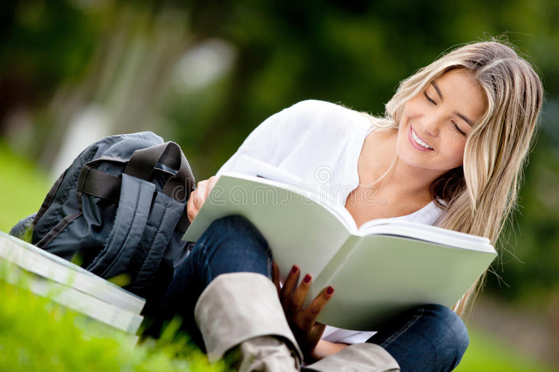 Download Woman studying at the park stock image. Image of hispanic - 23390737