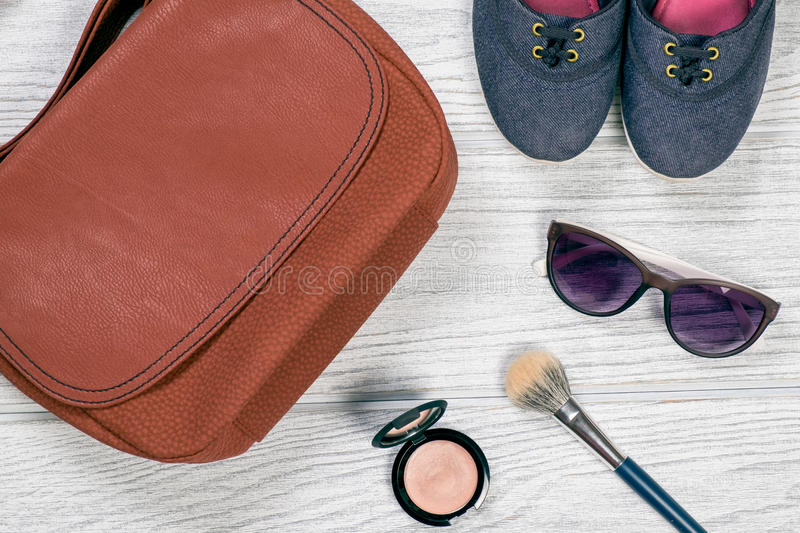 Woman style accessories background stock image