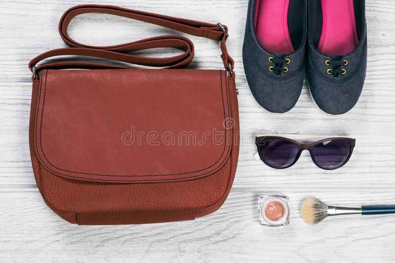 Woman style accessories background royalty free stock photography