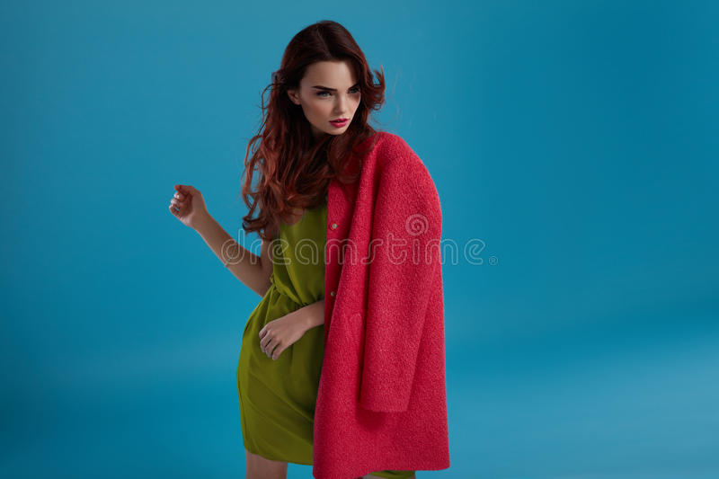 Woman Style. Fashion Model Girl In Beautiful Fashionable Clothes royalty free stock images