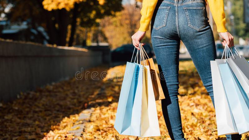 Woman style fashion shopping bags fall city royalty free stock photos