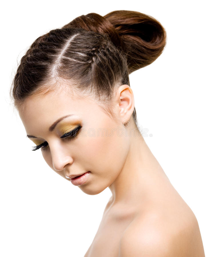 Woman with style hairstyle of pigtail royalty free stock photography