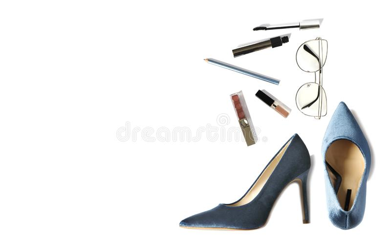 Woman styled fashion shoes and accessories isolated on white background. Flat lay, top view fashion background stock images