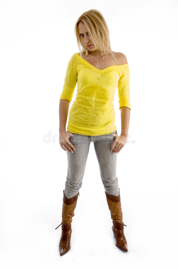 Woman in stylish standing pose