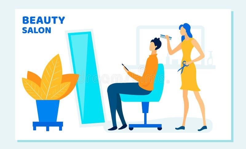 Woman Stylist Cutting Clients Hair in Beauty Salon stock illustration