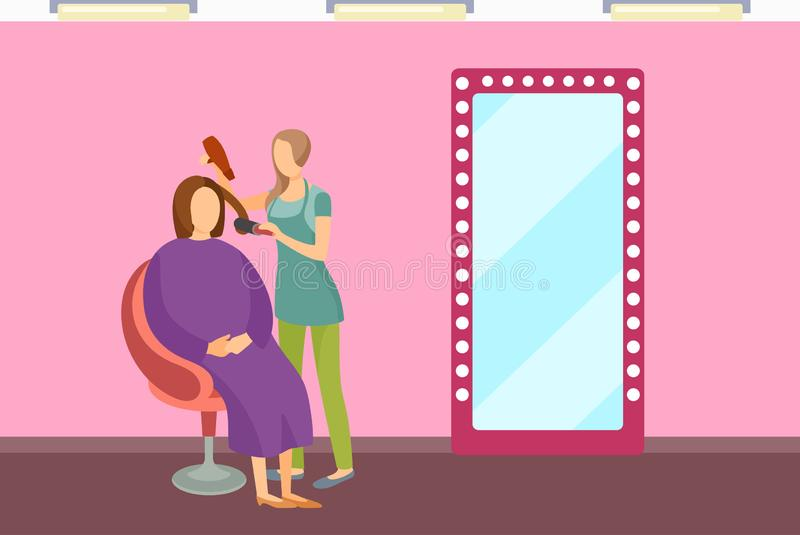 Woman Stylist Using Hair Dryer Make Client Haircut vector illustration