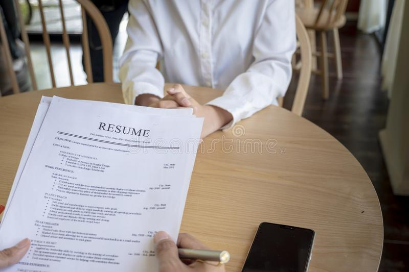 woman with cv and resume stock image  image of looking