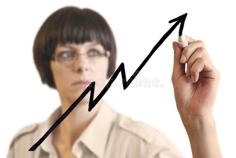 Woman and Success chart stock photography