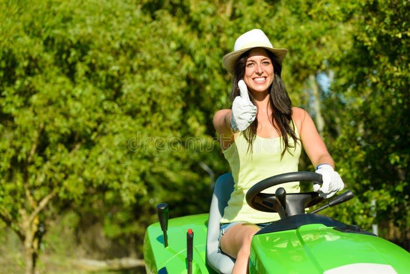 Woman success in field garden job stock photography