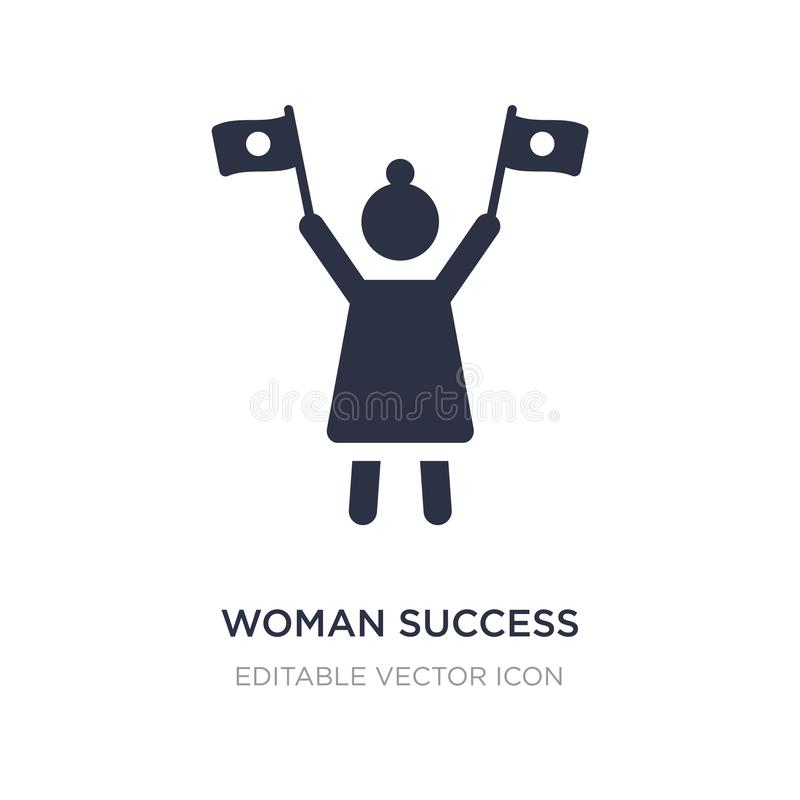 woman success icon on white background. Simple element illustration from Seo and web concept stock illustration