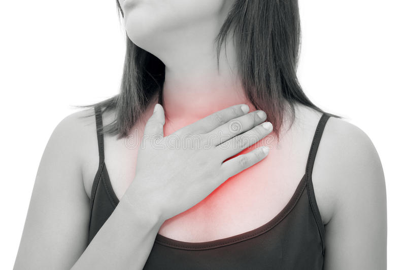 Woman suffering from acid reflux or heartburn stock photos