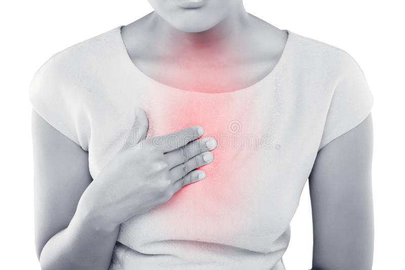 Woman suffering from acid reflux or heartburn. On white background stock image