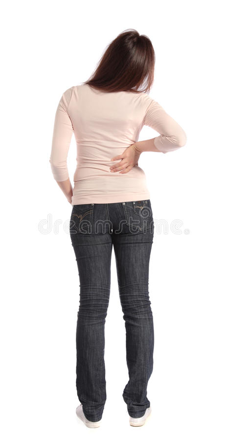Woman suffering from backache stock image