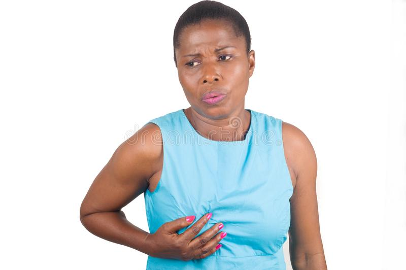 Woman suffering from breast pain stock photography