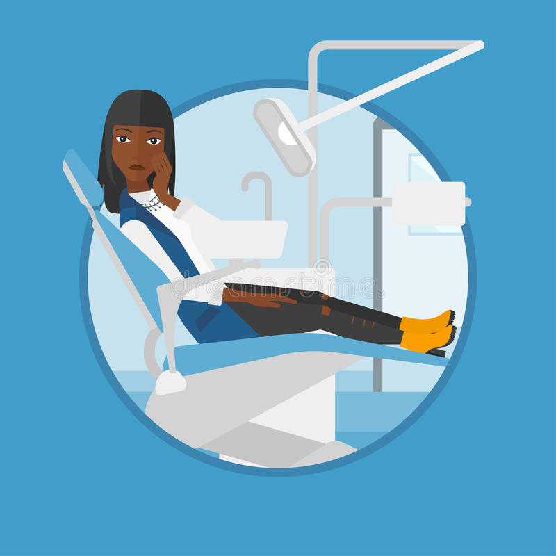 Woman suffering in dental chair. stock illustration