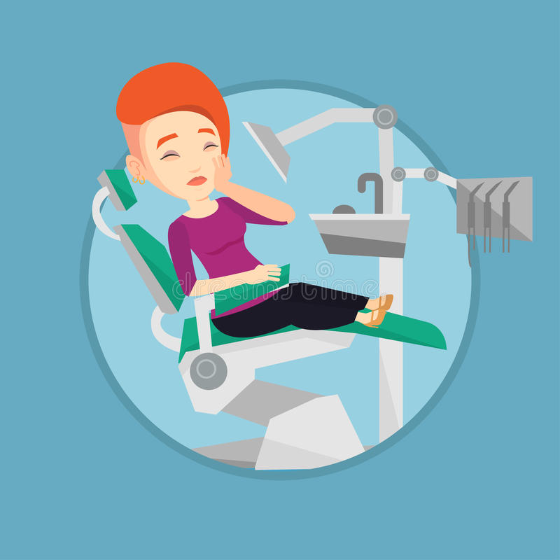 Woman suffering in dental chair. vector illustration