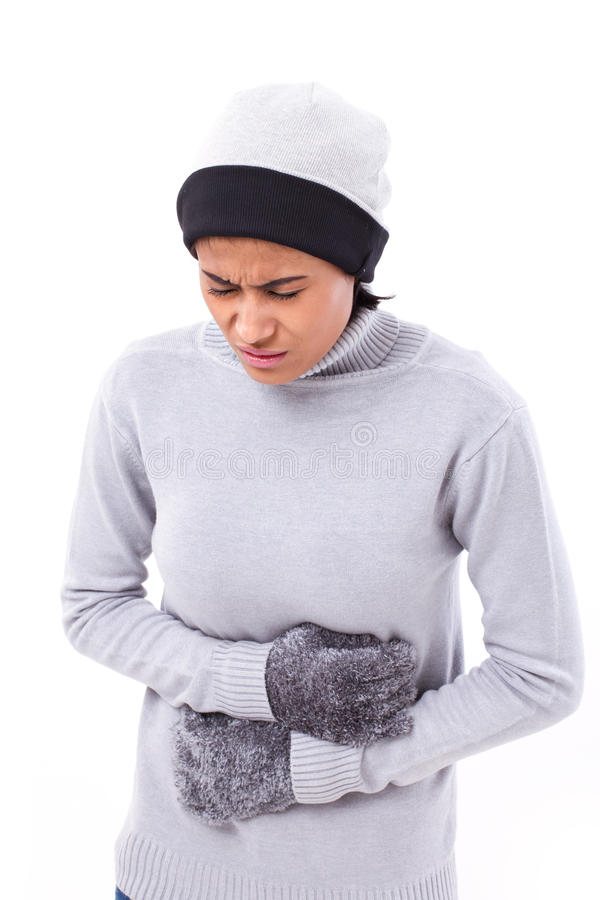 Woman suffering from stomachache, nausea, belly problem royalty free stock photo