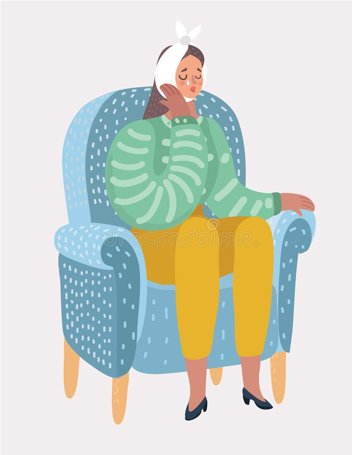 Woman suffering from a strong toothache royalty free illustration