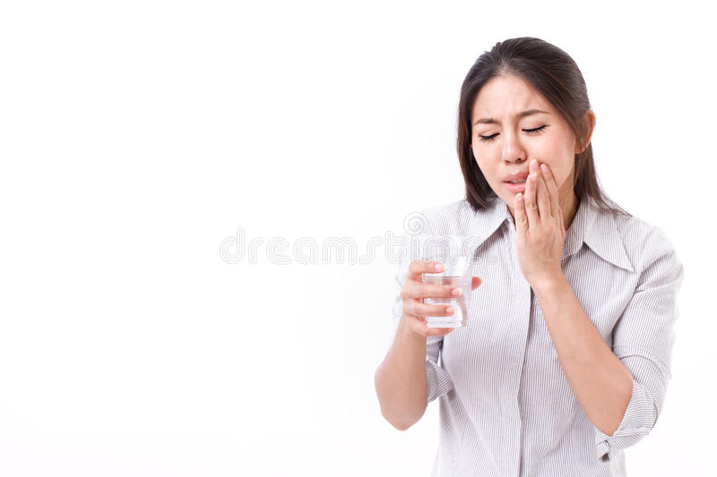 Woman suffering from tooth sensitivity royalty free stock photos