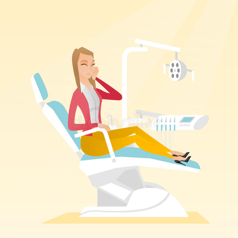 Woman suffering from toothache. stock illustration