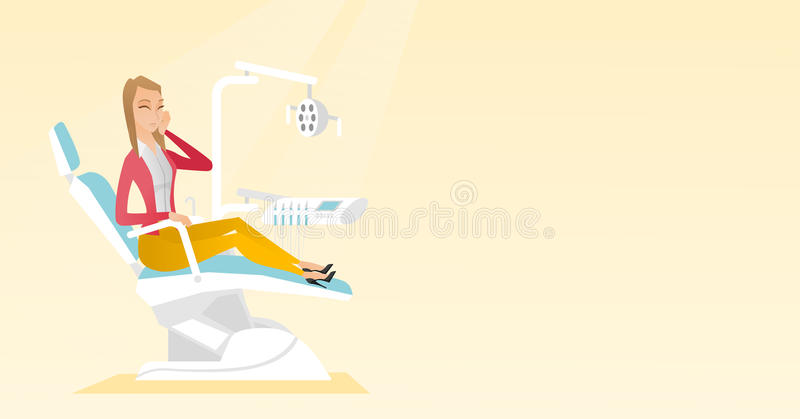 Woman suffering from toothache. vector illustration