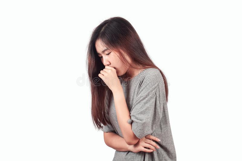 woman suffers from Coughing cold, health stock photography