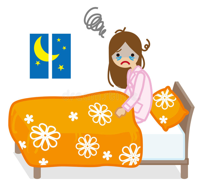 Woman suffers Insomnia -Floral pattern Bedclothes. Vector Illustration royalty free illustration
