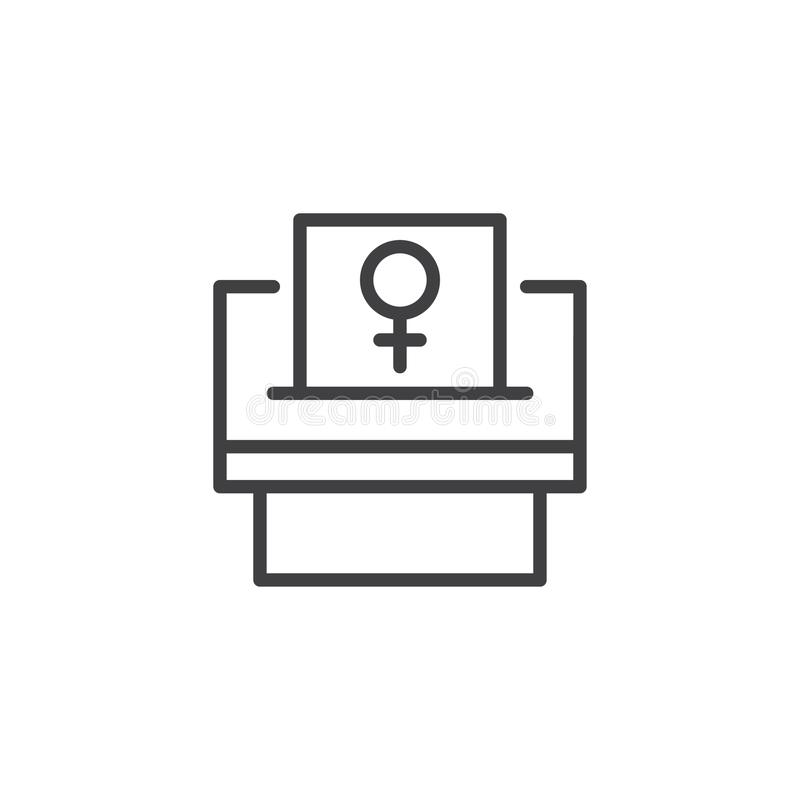 Woman suffrage outline icon. Linear style sign for mobile concept and web design. Feminism simple line vector icon. Symbol, logo illustration. Pixel perfect stock illustration