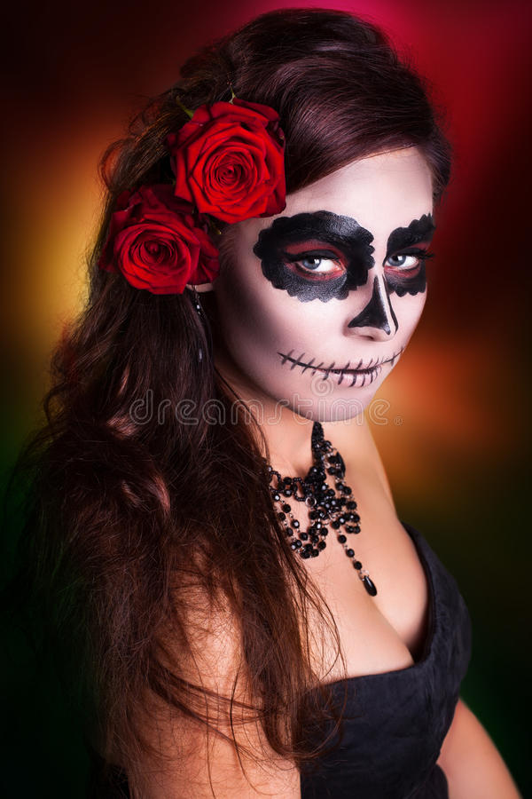 Woman with sugar skull make-up. Attractive woman with sugar skull make-up royalty free stock photos
